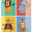 SET OF 4 ART PRINTS FOR KIDS JUNGLE SAFARI BABY ANIMALS