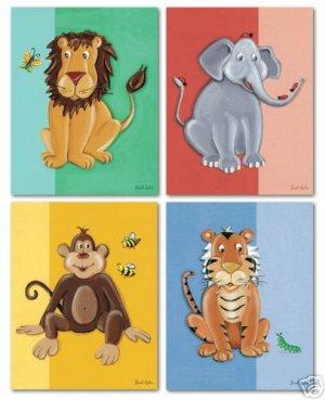 SET OF 4 ART PRINTS FOR KIDS JUNGLE SAFARI BABY ANIMALS