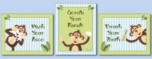 JUNGLE MONKEY SET OF 3 BATHROOM PRINTS WASH YOUR HANDS