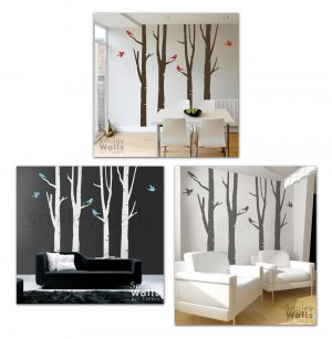 Winter Birch Trees and Birds100inch Tall Vinyl Decal