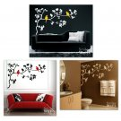 Birds on Branch with Leaves - Vinyl Wall Decal Art