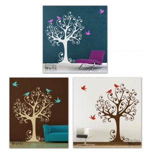Ornamental Tree with Birds - Large - Vinyl Wall Decal