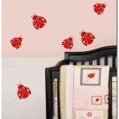 6 Ladybugs Girls Nursery Art Vinyl Wall Decal