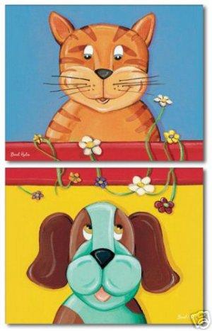 "11""x14"" SET OF 2 ART PRINTS FOR KIDS PUPPY DOG & KITTEN"