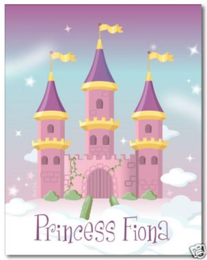 "11""x14"" GIRL'S PERSONALIZED ART PRINT PRINCESS CASTLE"