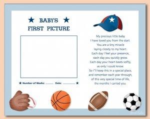 "SPORTS BASEBALL FOOTBALL 8""X10"" BABY ULTRASOUND PRINT"