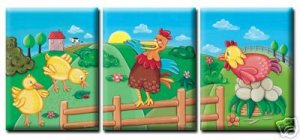 SET OF 3 PRINTS ON STRETCHED CANVAS / CHICKEN FARM