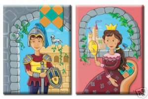 PRINCESS or KNIGHT / STRETCHED CANVAS ART PRINT FOR KIDS ROOM