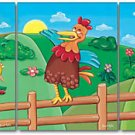 "11""x14"" SET OF 3 ART PRINTS FOR KIDS  / CHICKEN FARM"