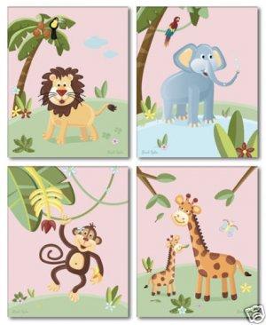 "8""x10"" SET OF 4 PINK JUNGLE ANIMALS  GIRL NURSERY PRINT"
