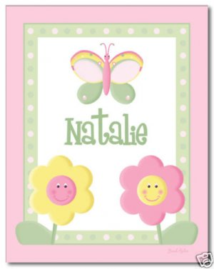 """11""""x14"""" GIRL PERSONALIZED ART PRINT FLOWERS & BUTTERFLY"""