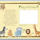 "JUNGLE SAFARI ANIMALS 8""x10"" BABY ULTRASOUND POEM PRINT"