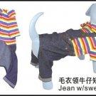 Wholesale Dog Apparel - Jean w/sweater   (Total : 108 pcs)