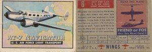 "TOPPS 1952 ""WINGS""  #6 AT-7 NAVIGATOR Trading Card"