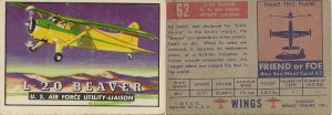 "TOPPS 1952 ""WINGS""  #62 L-20 BEAVER Trading Card"