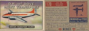 """TOPPS 1952 """"WINGS""""  #170 D.H. 104 DOVE Trading Card"""