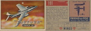 "TOPPS 1952 ""WINGS""  #191 VATOUR Trading Card"