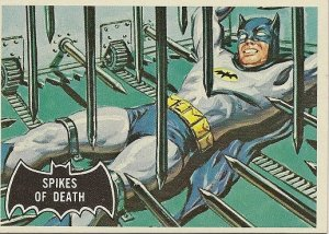 """TOPPS 1966 BATMAN #17 """"SPIKES OF DEATH"""" Trading Card"""