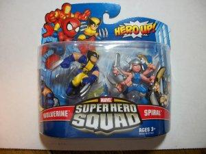 MARVEL SUPER HERO SQUAD WOLVERINE & SPIRAL Figures