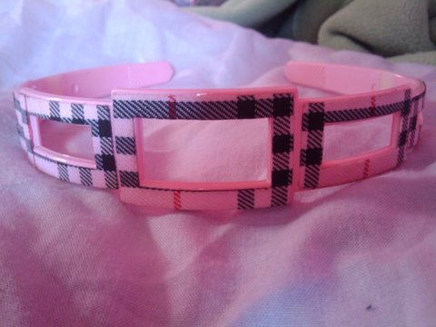Checkered baby doll pink headband with black