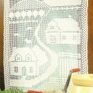 W469 Filet Crochet PATTERN ONLY Countryside Curtain Pattern House Farm Yard