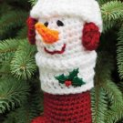 W475 Crochet PATTERN ONLY Snowman Christmas Stocking Ornament Pattern