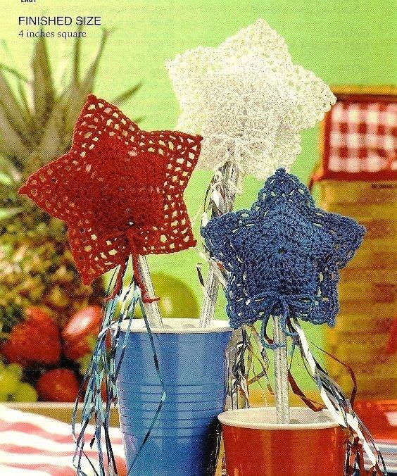 W473 Crochet PATTERN ONLY Patriotic Star Sparklers Ornament Patterns