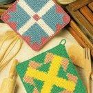 W456 Crochet PATTERN ONLY Country Quilt Potholder Patterns Cross Crown Goose