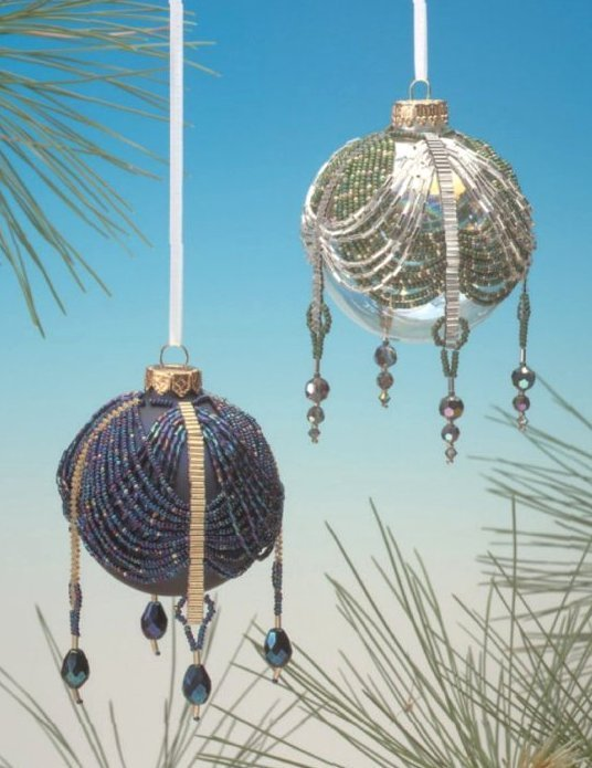 Y204 Bead PATTERN ONLY Beaded Victorian Double Swag Christmas Ornament Cover