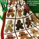 Y969 Crochet PATTERN ONLY Gingerbread Man Afghan Throw Pattern