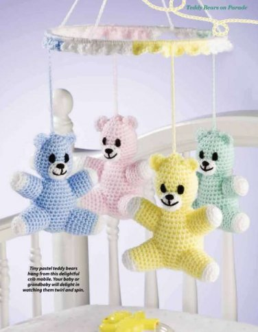 Y845 Crochet PATTERN ONLY Tiny Teddies Bear Baby Mobile Pattern
