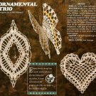 Y974 Crochet PATTERN ONLY Ornamental Trio Crystal Oval Butterfly Heart Christmas