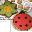 W191 Crochet PATTERN ONLY Flower & Ladybug Pot Holders Potholder Pattern