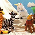W188 Crochet PATTERN ONLY 4 Animal Patterns Giraffe Zebra Unicorn Camel Toy