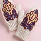 W169 Crochet PATTERN ONLY Colorful Mittens with Floral Embellishments Pattern