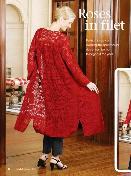 W157 Filet Crochet PATTERN ONLY Roses in Filet Spectacular Duster Pattern