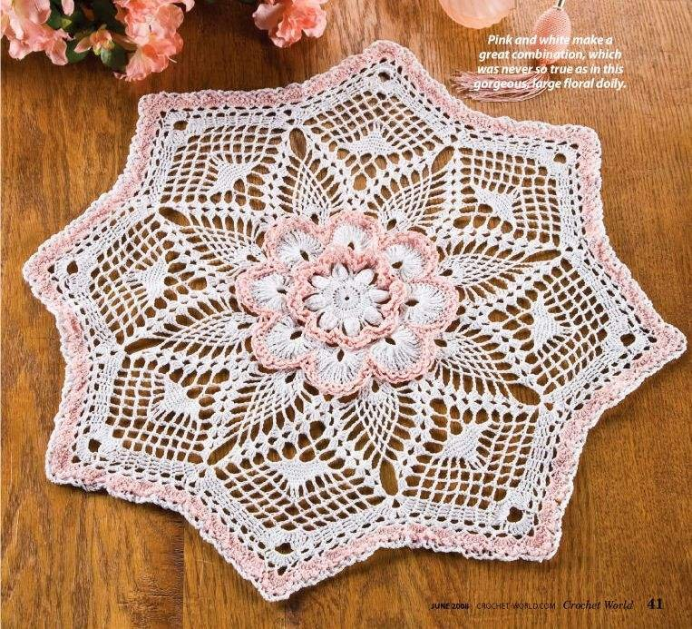 W046 Crochet PATTERN ONLY Tickle Me Pink Floral Doily Pattern