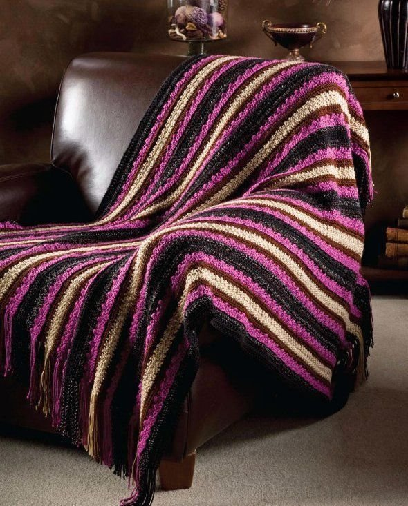 Y433 Crochet PATTERN ONLY Textured Stripes Throw Pattern