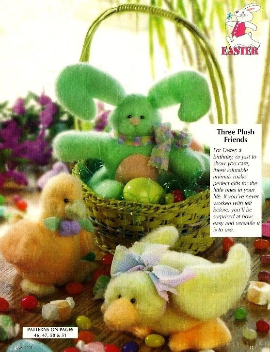 W028 Sewing PATTERN ONLY Plush Stuffed Toys Rabbit Duck Chick Pattern Easter