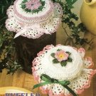 Y581 Crochet PATTERN ONLY 2 Frilly Floral Jar Lid Covers