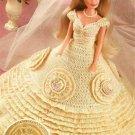 X876 Crochet PATTERN ONLY Fashion Doll Barbie Wedding Gown w/ Beaded Medallions
