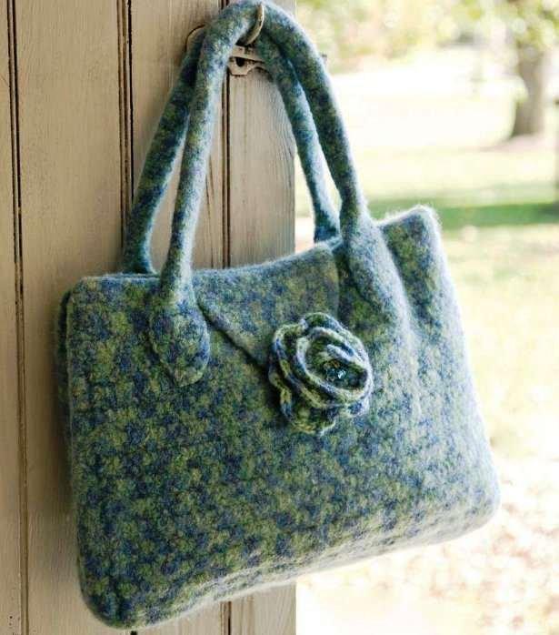 Y700 Crochet PATTERN ONLY Felted Flower Flap Tote Bag Pattern