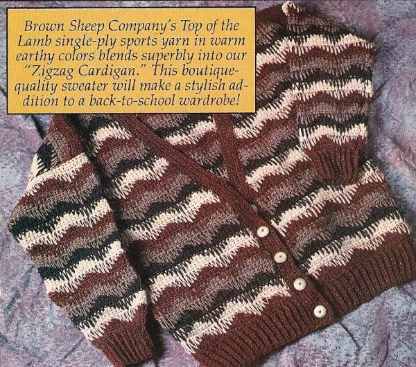 Y480 Crochet PATTERN ONLY Zigzag Cardigan Sweater Pattern