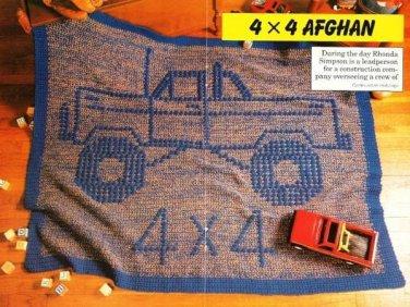 Y191 Crochet PATTERN ONLY 4 x 4 Off-road Monster Truck Afghan Pattern