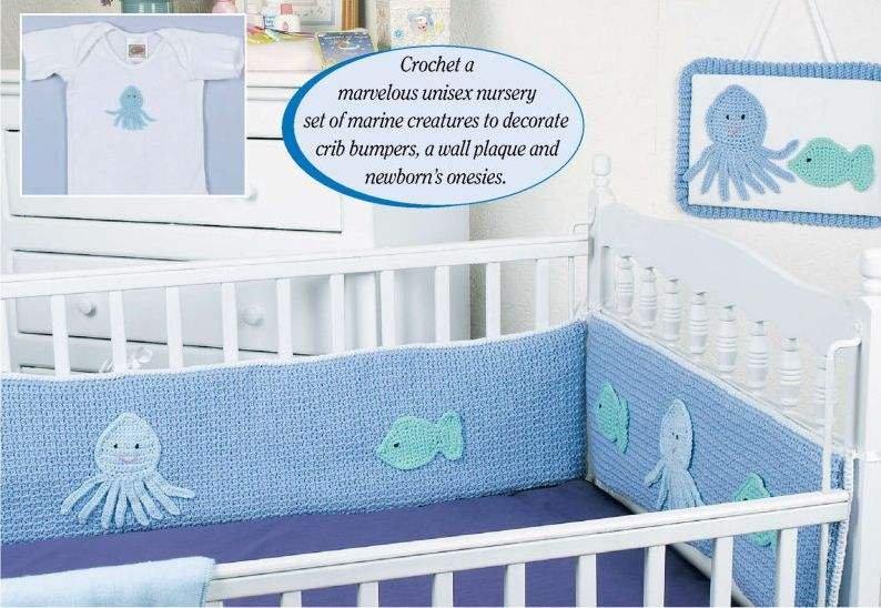 Y119 Crochet PATTERN ONLY Ocean Creatures Nursery Set Crib Bumpers