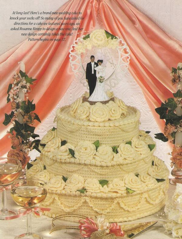 Y037 Crochet PATTERN ONLY Yummy 3 Tier Wedding or Anniversary Cake with Roses