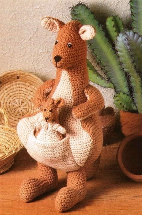 X831 Crochet PATTERN ONLY Mama Kangaroo and Baby Joey Toy Doll Pattern