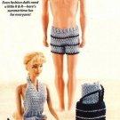 X611 Crochet PATTERN ONLY Fashion Doll Beach Pool Attire Pattern Barbie Ken