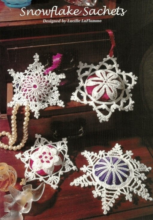 X603 Crochet PATTERN ONLY 4 Snowflake Sachets Pattern