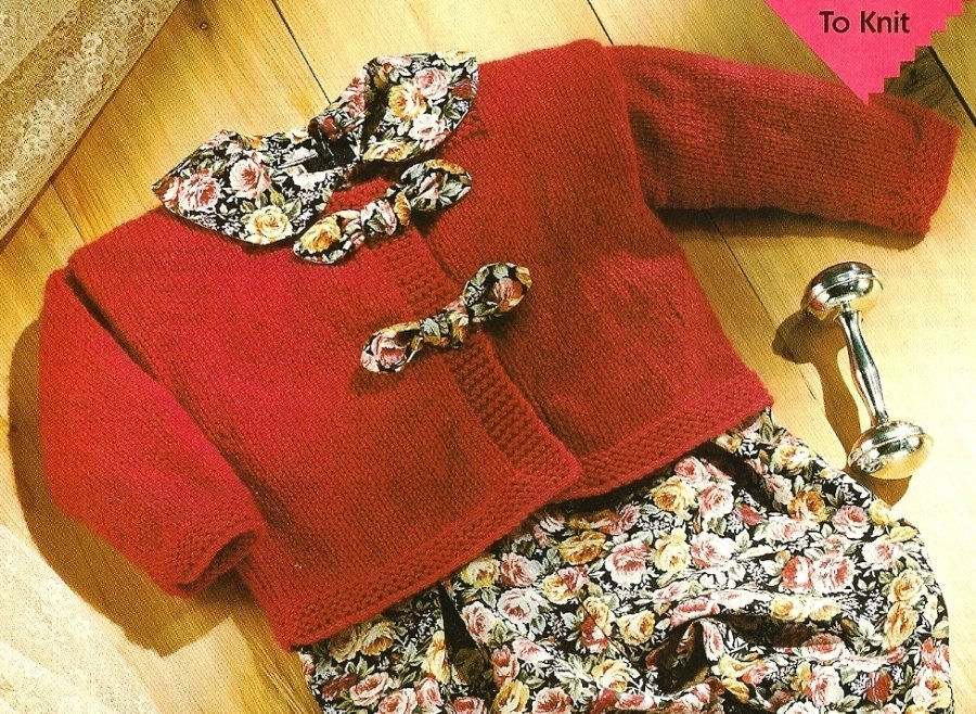 X277 Knit PATTERN ONLY Baby Cardigan Sweater & Booties Pattern Set
